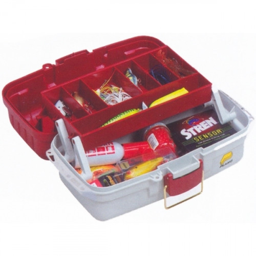 Red Metallic//Off White-NEW Plano 1-Tray Tackle Box with Dual Top Access