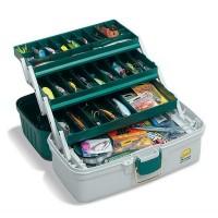 Ящик PLANO 620306 3 Tray Tackle Box w/ dual top access Dk Green Met./Off White
