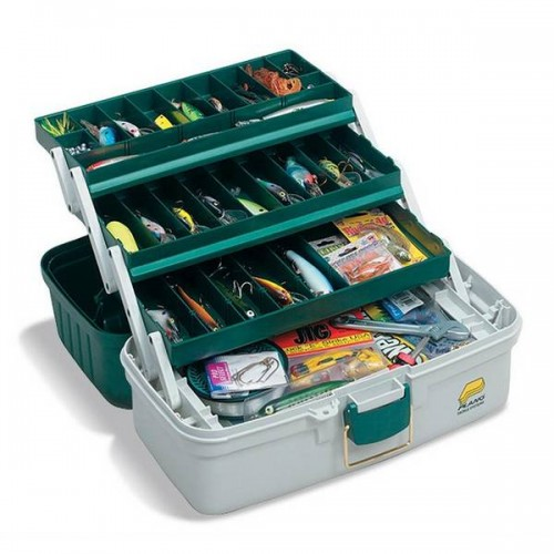 Ящик PLANO 620306 3 Tray Tackle Box w/ dual top access Dk Green Met./Off White (41,28x22,86x21,29 см)